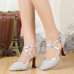 Women's Ballroom Sandals Sparkling Glitter With Ankle Strap Ballroom