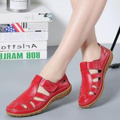 Dla kobiet Prawdziwa Skóra Płaski Obcas Sandały Plaskie Z Rzep obuwie