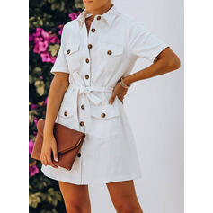 Solid Short Sleeves Sheath Above Knee Casual Shirt Dresses