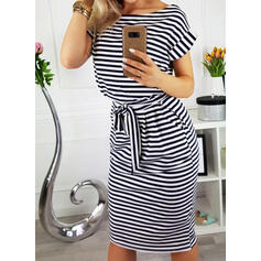 Striped Short Sleeves Bodycon Knee Length Casual/Elegant Dresses