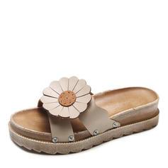 Women's Leatherette Flat Heel Sandals Flats Peep Toe Slingbacks Slippers With Flower shoes