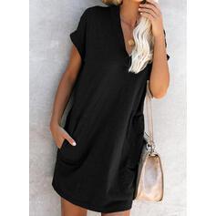 Κοντά Μανίκια Αμάνικο Πάνω Από Το Γόνατο Μικρό μαύρο/Καθημερινό Μπλουζάκι Сукні