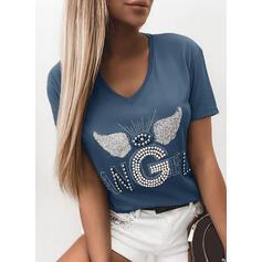 スパンコール ラウンドネック 半袖 カジュアル Tシャツ