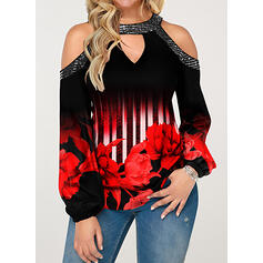Print Bloemen Pailletten Cold Shoulder Lange Mouwen Casual Overhemd