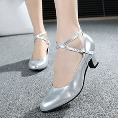 Women's Ballroom Pumps Patent Leather With Ankle Strap Ballroom