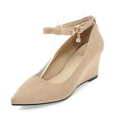Femmes Suède Talon compensé Compensée avec Boucle chaussures