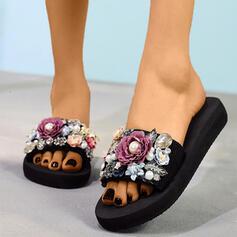 Mulheres Pano Sem salto Chinelos com Pérola Imitação Flor sapatos