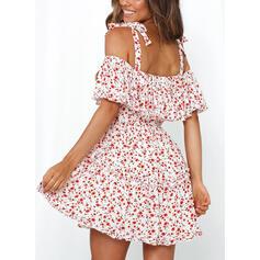 Print/Floral 1/2 Sleeves/Cold Shoulder Sleeve A-line Above Knee Casual Dresses
