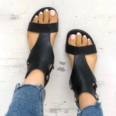 De mujer PU Tacón plano Sandalias Encaje con Rivet Hebilla zapatos