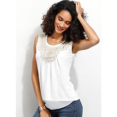 Solid Round Neck Sleeveless Casual Elegant Blouses