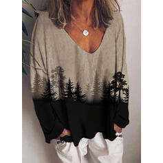 Print Forest V-Neck Long Sleeves Casual Knit Blouses
