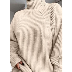 Solid Cable-knit Chunky knit Turtleneck Sweaters