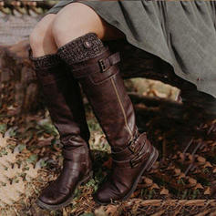 Women's PU Flat Heel Flats Boots Knee High Boots With Buckle shoes