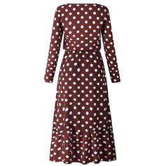 PolkaDot Long Sleeves A-line Midi Casual Dresses