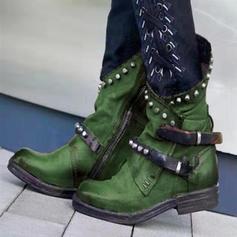 Bayanlar PU Düşük Topuk bot ayakkabı Ile Perçin Toka ayakkabı