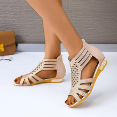 Women's PU Wedge Heel Low Heel Sandals Peep Toe With Hollow-out shoes