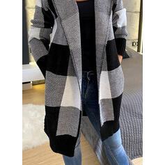 Color Block Pocket Hooded Casual Long Cardigan