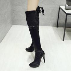 Femmes PU Talon stiletto Escarpins Bottes Bottes hautes avec Zip chaussures