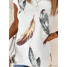 Trykk Feather Rund hals Kortermer T-skjorter