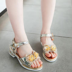 Girl's Leatherette Peep Toe Sandals Flats With Bowknot Velcro Crystal