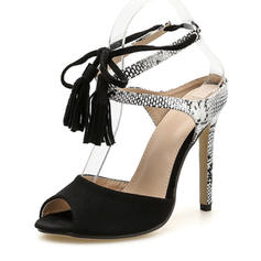 PU Stiletto Heel Sandals Pumps Peep Toe Heels With Tassel shoes