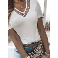 PolkaDot Solid V-Neck Short Sleeves T-shirts