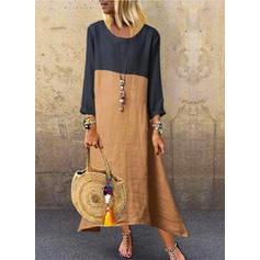 Color Block 3/4 Sleeves Shift Maxi Casual Dresses