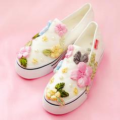 Femmes Velours Talon plat Chaussures plates Bout fermé avec Une fleur chaussures