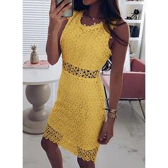 Lace/Solid Sleeveless Sheath Knee Length Casual/Elegant Dresses