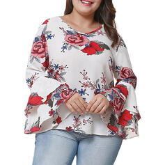 Print Floral V-Neck Flare Sleeve Long Sleeves Casual Plus Size Blouses