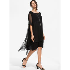 Einfarbig Kurze Ärmel Shift Knielang Kleine Schwarze/Freizeit/Elegant Kleider