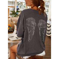 Print Round Neck 1/2 Sleeves T-shirts