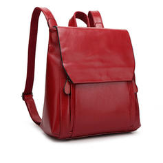 PU Leather Multi-slots Backpack School Bag For Women Men