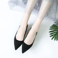 Women's Suede Chunky Heel Pumps Closed Toe With Others Braided Strap Split Joint Elastic Band shoes
