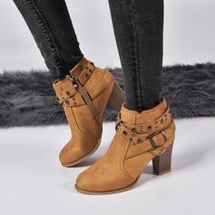 Bayanlar PU Tıknaz Topuk bot ayakkabı Ile Toka ayakkabı