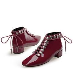 Femmes Cuir verni Talon bottier Bout fermé Bottines avec Dentelle chaussures