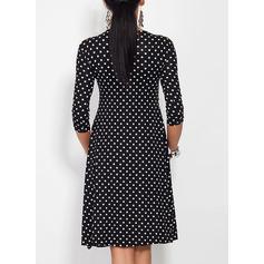 Pöttyös 3/4-es ujjú A-vonal Térdig érő Vintage/Kis fekete φορέματα