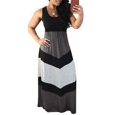 Color Block Sleeveless A-line Casual Maxi Dresses