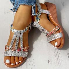 Women's PU Wedge Heel Sandals Peep Toe With Rhinestone shoes