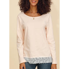 Solid Lace Round Neck Long Sleeves Casual Knit Blouses