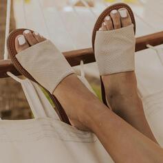 Femmes PU Talon plat Sandales À bout ouvert Chaussons avec Ouvertes chaussures