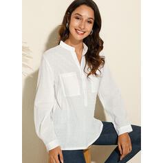 В горошек V шеи Длинные рукова Повседневная Вязание Рубашка Блузки