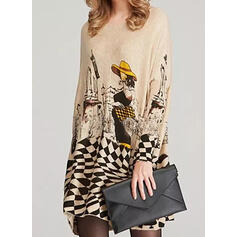 Print Long Sleeves Shift Above Knee Casual Dresses