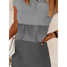 Wyszczuplająca/W kratę Krótkie rękawy Koktajlowa Nad kolana Casual T-shirt Sukienki