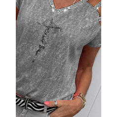 Sequins Cold Shoulder Short Sleeves Casual Blouses