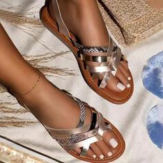 Femmes PU Talon plat Sandales Chaussures plates À bout ouvert Chaussons avec Ouvertes Rayé chaussures