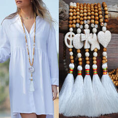 Beautiful Fashionable Exotic Crystal Wooden Beads With Tassels