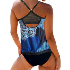 Print Halter Vintage Tankinis Swimsuits