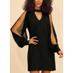 Solid Long Sleeves/Cold Shoulder Sleeve Shift Above Knee Little Black/Casual Tunic Dresses