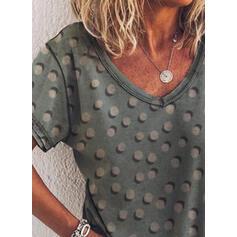 Drucken Gepunktet V-Ausschnitt Kurze Ärmel Freizeit T-shirts
